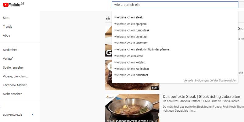 Fragen bei Youtube